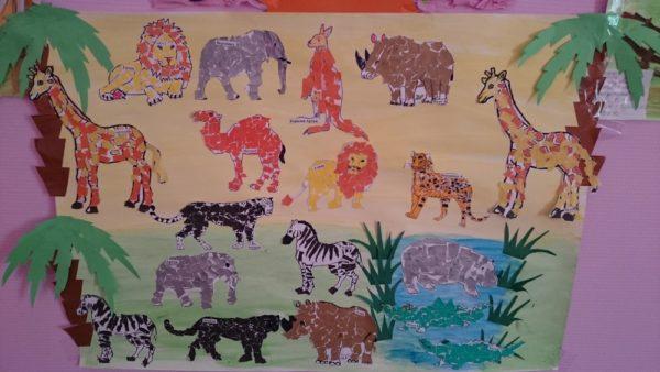 Сюжетная аппликация с изображением животных разных стран