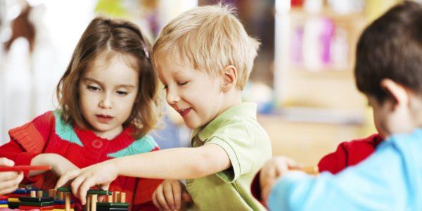 Дети играют с деревянным конструктором