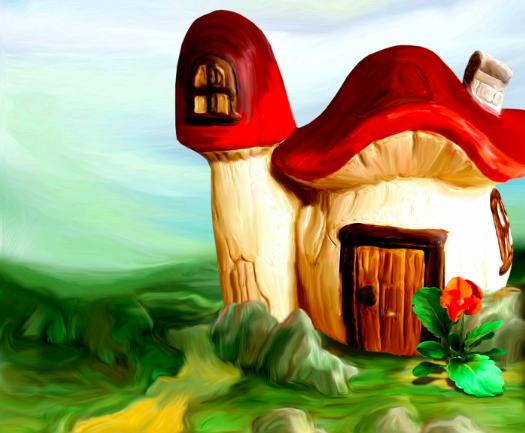 Домик в грибах