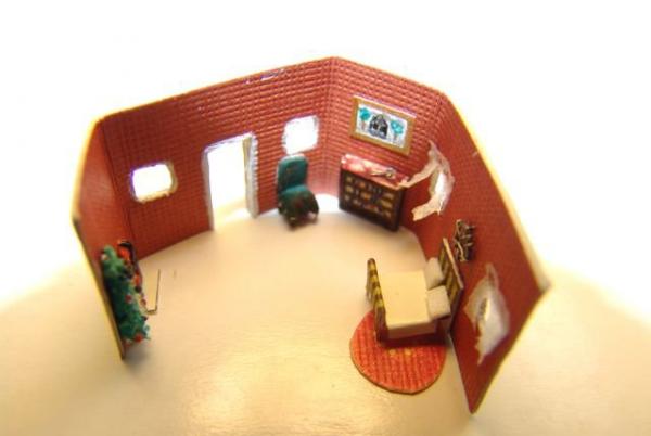 Поделка комната из картона пластилина