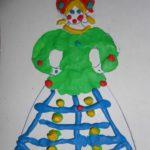 Дымковская барышня, пластилинография