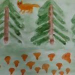 Лиса и грибы лисички