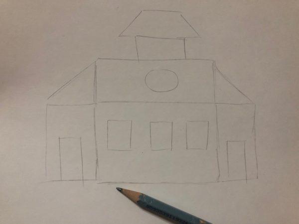 Сказочный домик карандашом, этап 1