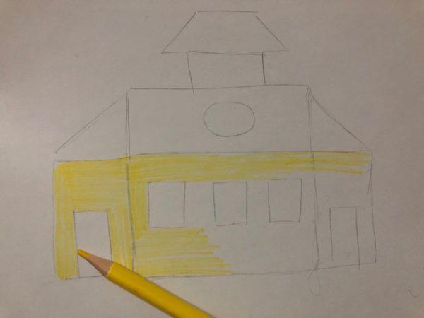 Сказочный домик карандашом, этап 2