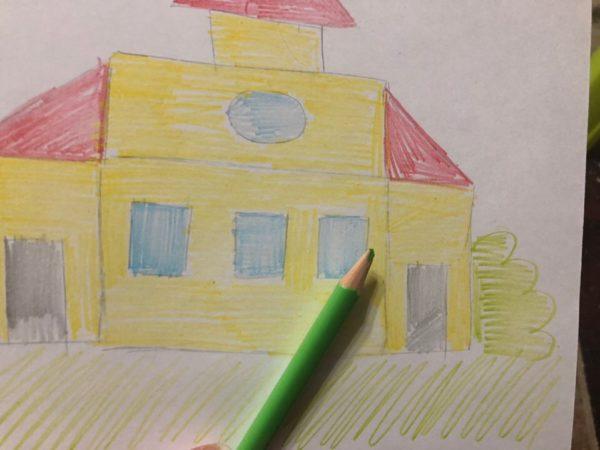 Сказочный домик карандашом, этап 3