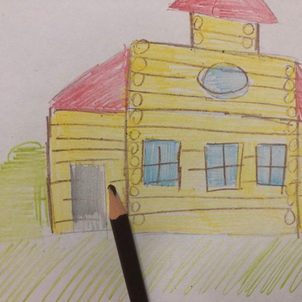 Сказочный домик карандашом, этап 4