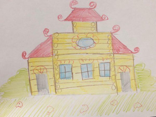 Сказочный домик карандашом, этап 5