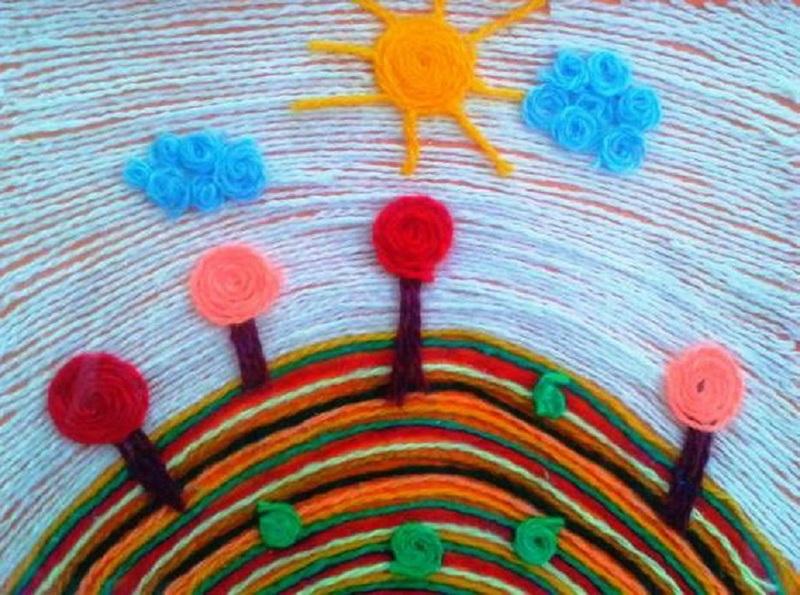 Рисование нитями в детском саду прекрасно развивает детскую фантазию и мелкую моторику