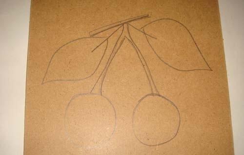 Карандашный рисунок вишен на основе