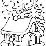 Шаблон зимнего домика