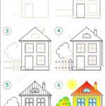 Пошаговая схема рисования дома