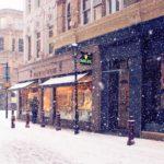 Фотография: метель в городе зимой