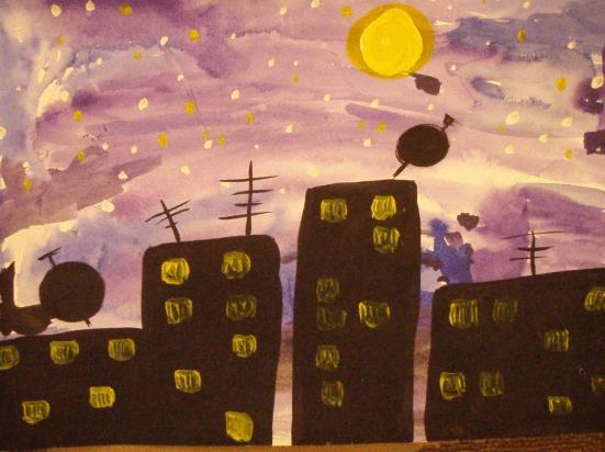 Изображение ночного города, выполненное красками
