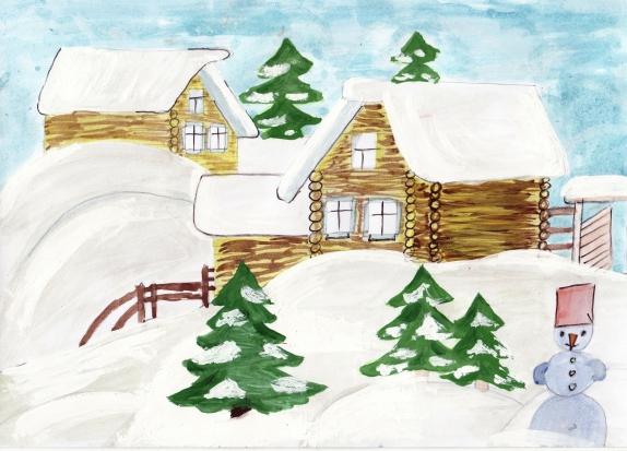 Рисунок, изображающий село или деревню зимой
