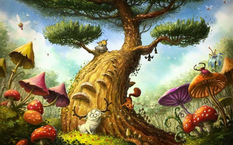 В средней группе дошкольникам предлагается проявить свою творческую фантазию, создав удивительный образ сказочного дерева