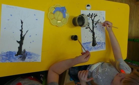 Рисование дерева гуашью