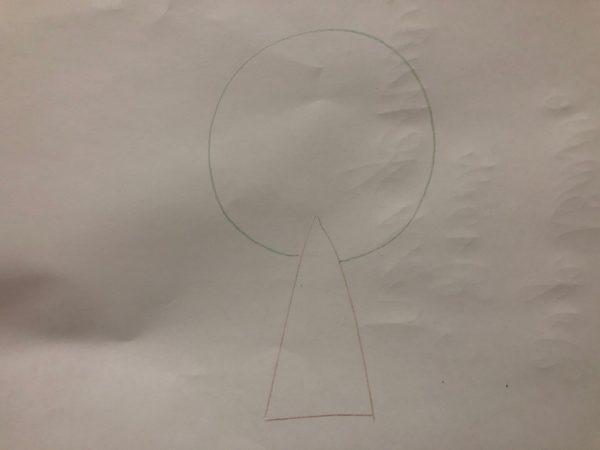 Сказочное дерево карандашами, этап 1