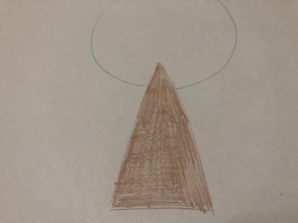 Сказочное дерево карандашами, этап 2