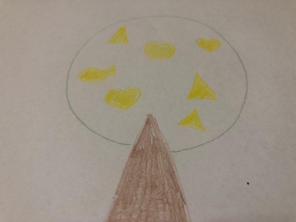 Сказочное дерево карандашами, этап 3