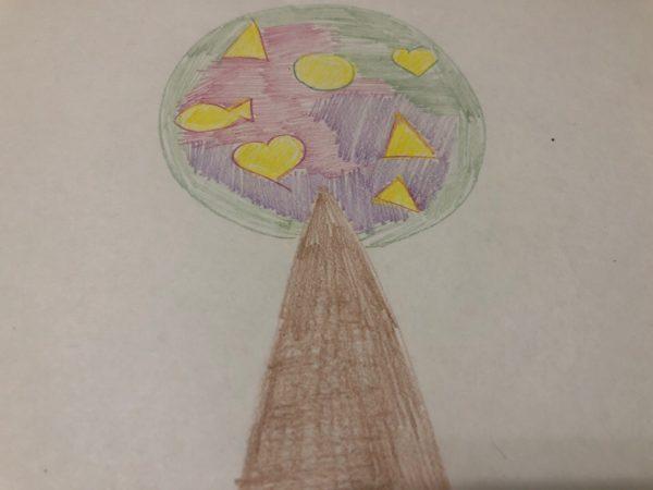 Сказочное дерево карандашами, этап 5