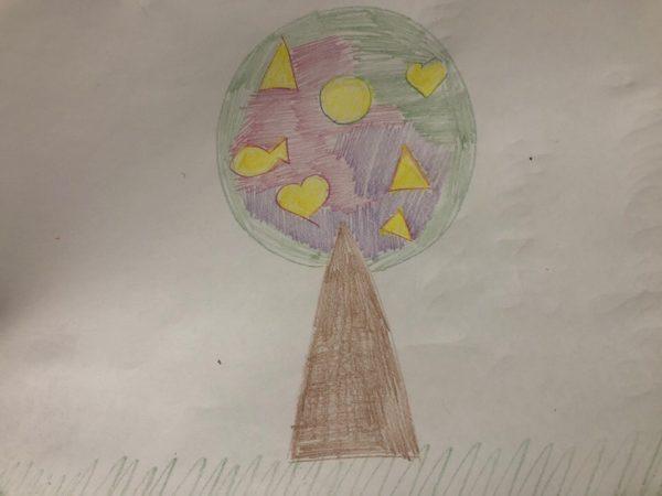 Сказочное дерево карандашами, этап 6