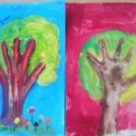 Сказочное дерево пальчиковыми красками