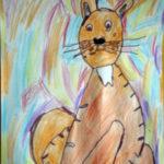 Сидящая кошка восковыми мелками
