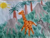 Слон, жираф и зебра, нарисованные ладошками