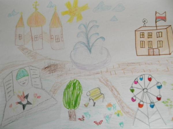 Рисунок города с изображение храма, здания администрации и детской площадки