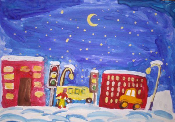 Изображение вечернего города зимой