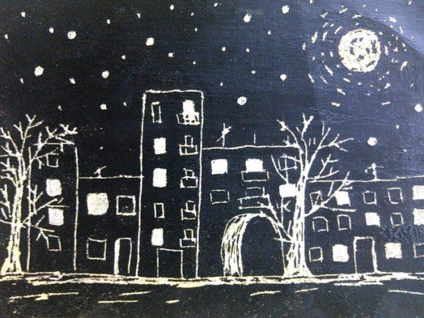 Детский рисунок города в технике граттаж
