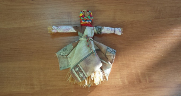 Готовая кукла-Масленица из лыка