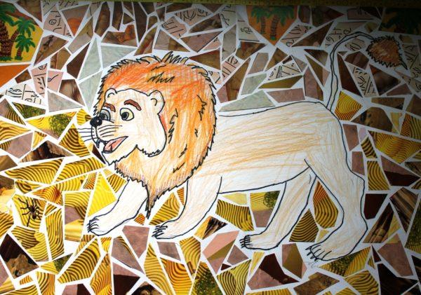 Рисованный лев с аппликацией