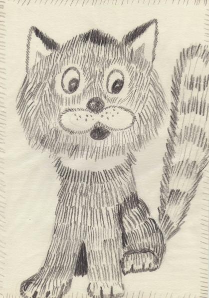 Кошка, рисунок карандашом