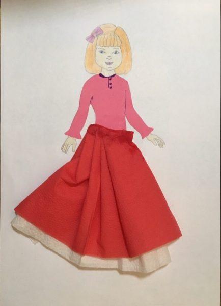 Готовая аппликация нарядной куклы