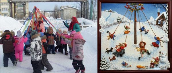 Малыши играют в «Снежную карусель» в детском саду; русский народ играет в «Карусель» в прежние времена