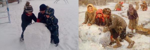 Современные дошкольники катают снежный ком; крестьянские дети в старину также катают огромный ком