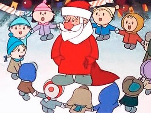Дети водят хоровод вокруг Деда Мороза