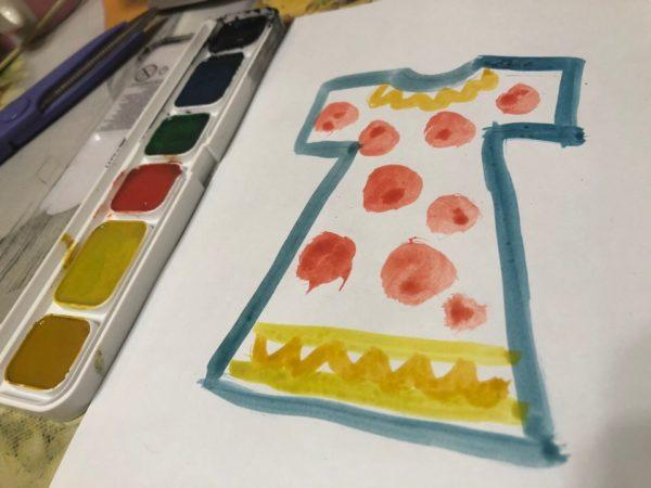 Готовый рисунок платья с узором