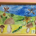 Рисунок «Грибы» восковыми мелками и акварелью