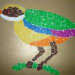 Цветная птичка в обрывной технике