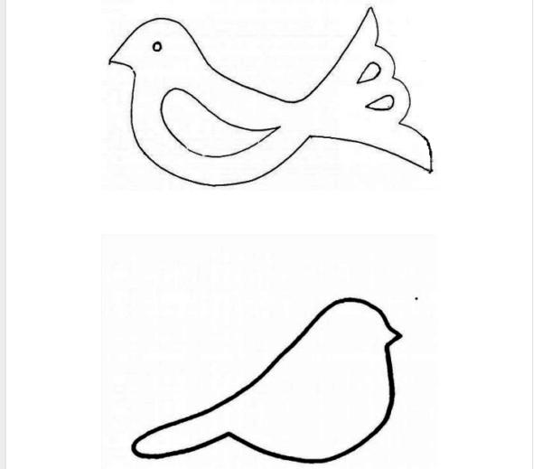 Шаблон птицы для открытки, размер