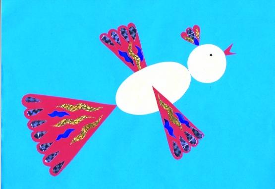 Птица счастья с цветными хвостом, хохолком и крыльями