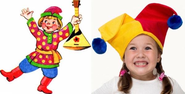 Русский скоморох и девочка в шапочке скомороха