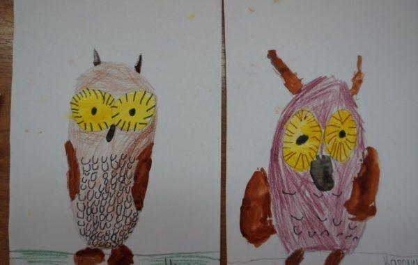 Две совы в карандаше, с использованием акварели и фломастеров