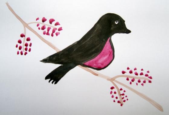 Сказочная птица на ветке