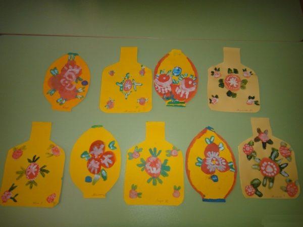 Роспись шаблона вазы и кухонной доски из жёлтого картона