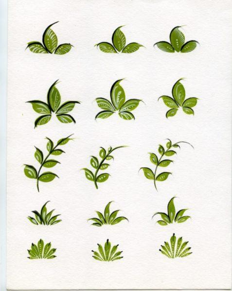 Разные виды листьев в городецкой росписи