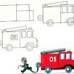Схема рисунка пожарной машины