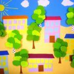 Дома с деревьями в ленточной аппликации